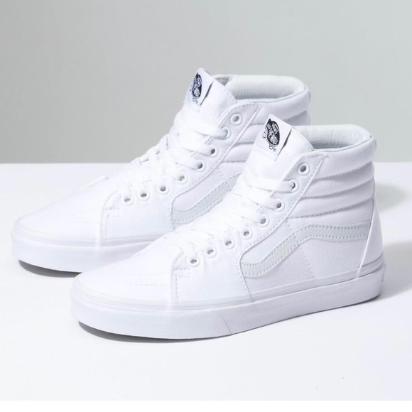 9233e796b552a1 Vans all white hi tops size 5 women 3.5 men. M 5b43b6713c984430ba8031da
